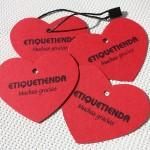 etiqueta cartón forma corazón personalizable