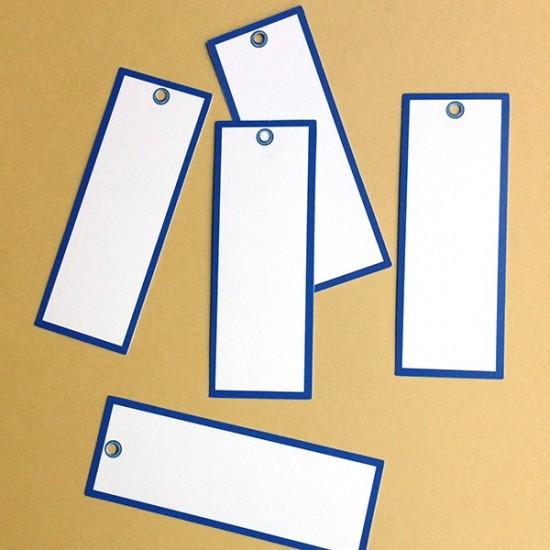 200 etiquetas cartón con marco azul 2x1