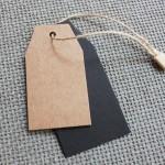 Etiquetas colgantes cartulina kraft, aspecto vintage, Combinables