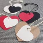 etiquetas cartulina kraft forma corazón varios colores