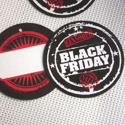 Etiquetas cartón BLACK FRIDAY REDONDAS