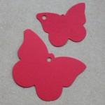 etiqueta mariposa cartón roja