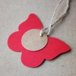 etiqueta mariposa cartón combinada con redonda mini
