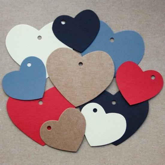 etiqueta cartón forma corazón varios colores y tamaños