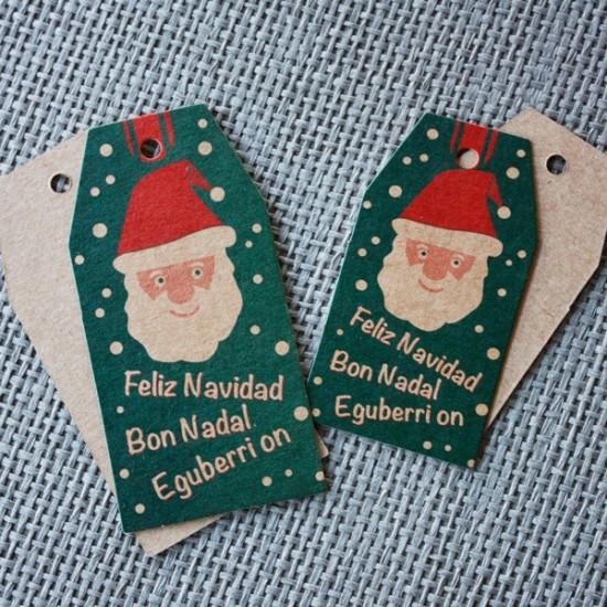 etiquetas cartón kraft navidad grande