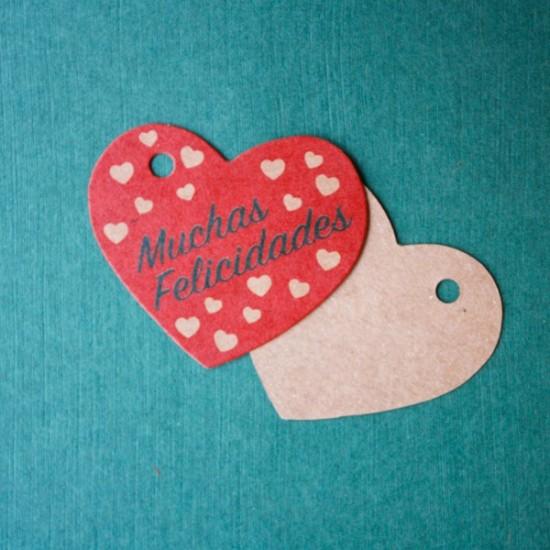 etiqueta colgante kraft para regalos - muchas felicidades
