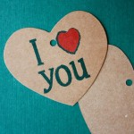 Etiqueta colgante kraft para regalos - I love you - Grande