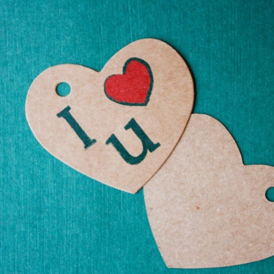 Etiqueta colgante kraft para regalos - I love you