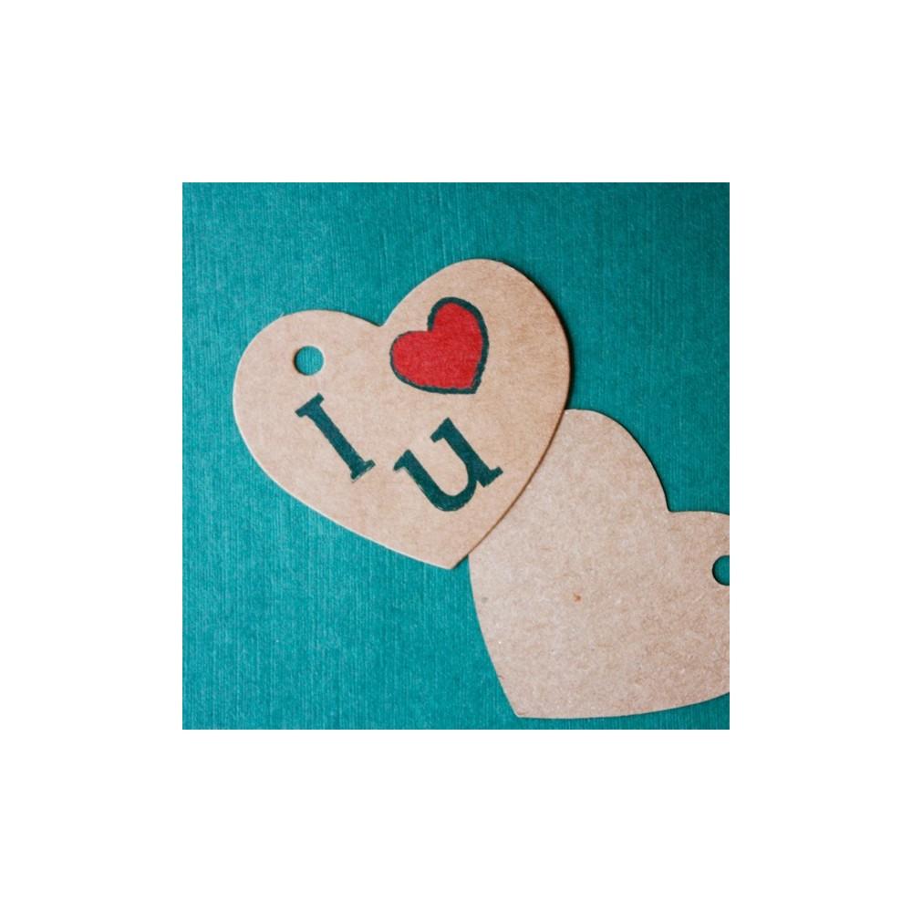 Etiqueta colgante kraft para regalos - I love you