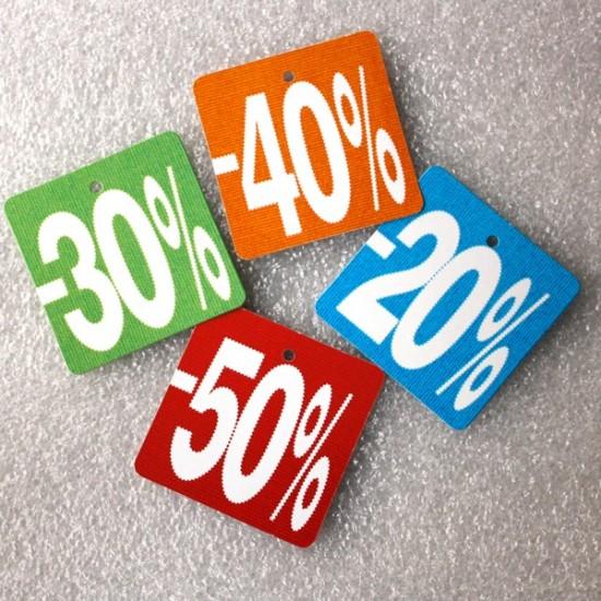 Etiquetas cartón DESCUENTOS 20-30-40-50%