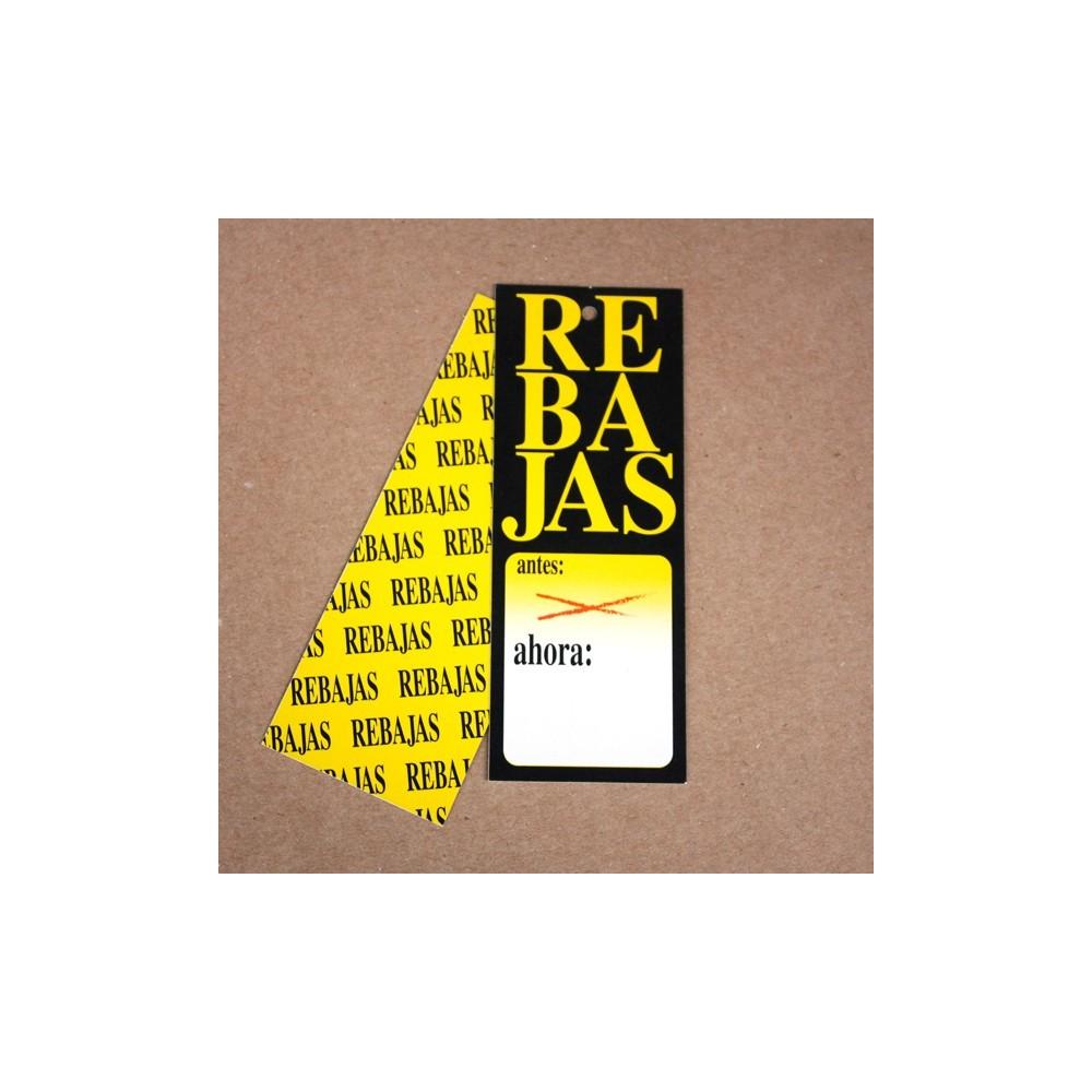 Etiqueta cartón Rebajas amarilla