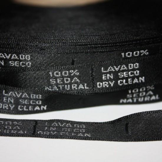 Etiquetas Seda Natural Lavado en seco. rollo 50 mts.