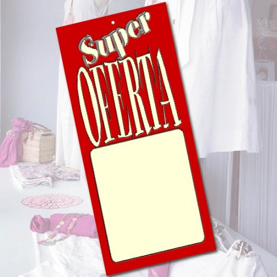 Pack 25 Carteles SUPER OFERTA 21x10cm.